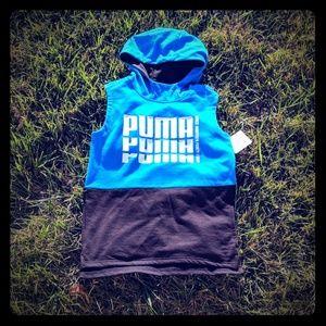 Puma hoodie sleeveless top kids boys blue 10-12